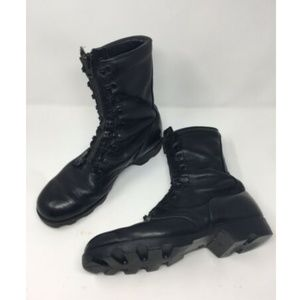 Vtg Boots Motorcycle Mens 9 M Black Leather